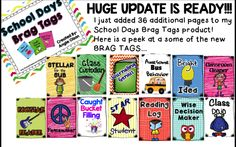 Diggin' into Next Year: Brag Tags-Ways to recognize students in lots of different ways.