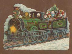 S9715 Victorian Die Cut Scraps Santa in Steam Train | eBay