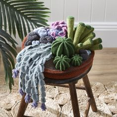 Crochet a Puff Flower Crochet Cactus Garden Project - believe it or not, these plants are ALL crocheted and the pattern is free.Crochet Cactus Garden Project - believe it or not, these plants are ALL crocheted and the pattern is free. Cactus En Crochet, Crochet Cactus Free Pattern, Crochet Pincushion, Crochet Amigurumi, Crochet Flower Patterns, Crochet Designs, Crochet Flowers, Cactus Pattern, Crochet Simple