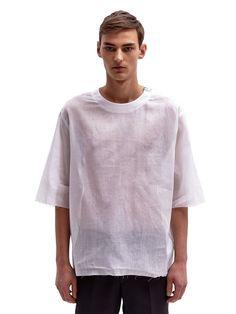 Yang Li Men's Oversized Raw Edge Sheer Cotton T-Shirt