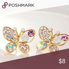 Butterfly Earrings Gold toned alloy and gem butterfly earrings Jewelry Earrings