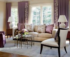 Rustic Beige Sofa With Purple Accent For Comfy Living Room Idea , Comfortable Living Room Design Ideas to Create Warm and Inviting Welcoming Space In Living Room Category Living Room Decor Colors, Room Design, Curtains Living Room, Purple Living Room, Beige Living Rooms, Interior Design Living Room, Bright Living Room Decor, Interior Design, Purple Curtains