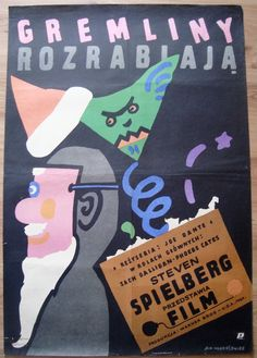 "This is original Polish poster to a American movie ""Gremlins"" from 1985 (size: 26"" x 38"").  Condition: good +   English title: Gremlins, USA, 1985 Polish title: ""Gremliny rozrabiaja""   Director: Joe Dante Starring : Phoebe Cates, Zach Galligan, Hoyt Axton  Gremlins, 26""x38"", Polish poster 1985, designed by Mlodozeniec, wall art print, illustration art, movie poster, vintage prints, minimalist"