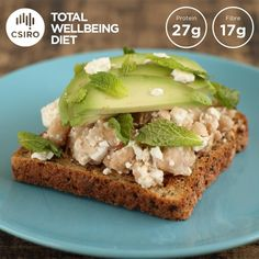 The CSIRO Total Wellbeing Diet is claimed to be the proven long-term solution to long-term weight loss. Here's what you need to know about the diet, plus a day's sample meal plan. Csiro Total Wellbeing Diet, Avocado Toast, Diet Recipes, Meal Planning, Protein, Weight Loss, Meals, Breakfast, Food