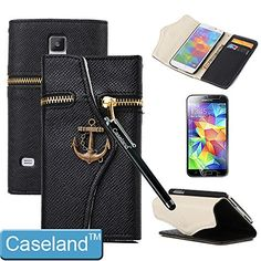 S5 Case,Galaxy S5 Wallet Case,Galaxy S5 Case By Caseland Stand Leather Folio Zipper Hidden Wallet Brass Anchor Case For Samsung Galaxy S5 I9600 Black Case Land