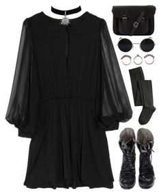"""""""Dark Matters"""" by deca-froses ❤ liked on Polyvore featuring Holy Tee, Augusta, The Cambridge Satchel Company, A.P.C. Madras and Iosselliani"""