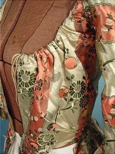 c. 1770's Polonaise of Museum Quality Floral and Striped Brocaded Silk Polonaise with Original internal Drawstrings AntiqueDress.com