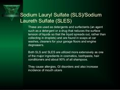 Sodium Lauryl Sulfate (SLS)/Sodium Laureth Sulfate (SLES) These are used as detergents and surfactants (an agent such as a...