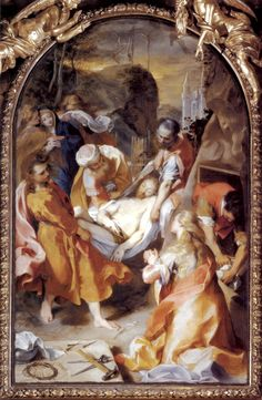 The palette--especially that of the Magdalene's dress--is amazingly fresh.  (Federico Barocci, Entombment, 1579-82, oil on canvas; on display at the St. Louis Art Museum)