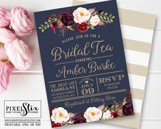 Navy Blue Bridal Tea Invitation, Vintage Rose and Peony Bridal Shower Invite, Elegant Dark Gold Stripes, Marsala and Cranberry, Dusty Blush by shopPIXELSTIX on Etsy