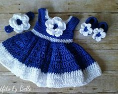Crochet Baby Dress, Blue Baby Outfit, Handmade Baby Headband, Newborn Baby Outfit, Baby Shower Gift, Infant Girl Dress, Baby Gift Flower