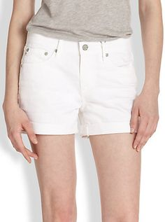 $138, Ag Hailey Rolled Ex Boyfriend Shorts by AG Jeans. Sold by Saks Fifth Avenue. Click for more info: http://lookastic.com/women/shop_items/28171/redirect