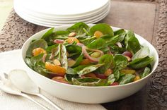 This is called the Gather 'Round Spinach Salad because that's what folks tend to do when you set it on the table.
