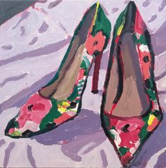For Sale on - Flower Heels (Colorful Fauvist Style Still Life Painting of Pink and Green Shoes), Canvas, Oil Paint by Dan Rupe. Offered by Carrie Haddad Gallery. Interlochen Arts Academy, Mary Bell, Soap Carving, Street Gallery, Green Shoes, Love Painting, Art Lessons, Still Life