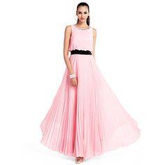 uma linha de jóias do assoalho-comprimento chiffon vestido de noite / baile de finalistas – BRL R$ 329,69