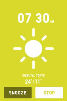 #UNIQLO A nice wake up #app. The music tune is automatically created based on the weather, time, and day of the week. #alarm