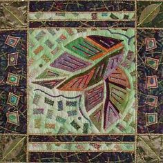 Vickie Hallmark | Leaf Mosaic 2, machine quilted miniature art quilt