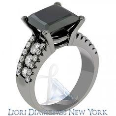 6.60 Carat Princess Cut Natural Black Diamond Engagement Ring 14k Black Gold - Black Diamond Engagement Rings - Engagement - Lioridiamonds.com