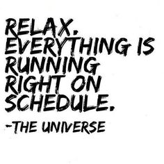 Relax. Everything is running right on schedule. - The Universe