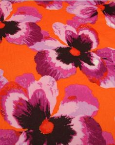 Lightweight cotton lawn fabric, featuring a large pink floral print on an orange background. Perfect for pretty summer wear. Cotton Lawn Fabric, Orange Background, Truro Fabrics, Floral Prints, Tropical, Pretty, Pattern, Pink, Painting