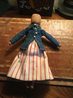 PRIMITIVE CLOTH RAG DOLL - Made by N. Schneeman Primitive Christmas Patterns, Primitive Crafts, Rag Dolls, Doll Toys, American Flag, Annie, Folk Art, Doll Clothes, History