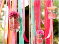 ribbons & hanging mason jars in the Fox It Up colors.  LOVE for the store.  #foxitup #getcrafty