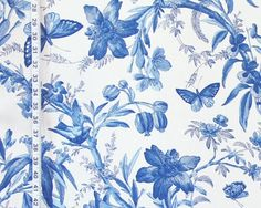 Blue toile fabric bird butterfly passion flowers from Brick House Fabric: Novelty Fabric