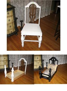 Victorian dog bed made from vintage chairs Find Everything you need to re-create these looks at Sleepy Poet Antique Mall! Victorian Dog Beds, Diy Bed, Diy Doggie Beds, Small Dog Beds, Cat Beds, Cute Dog Beds, Puppy Beds, Vintage Chairs, Cute Dog Stuff