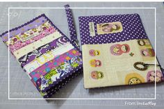 Purple patchwork purse and pouch