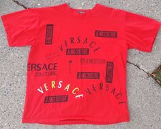 Vtg 90s Gianni Versace Red Big Logos All Over Jeans Couture Lg T Shirt Spellout   Clothing, Shoes & Accessories, Men's Clothing, T-Shirts   eBay!
