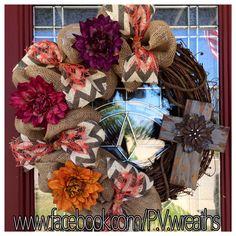 Fall grapevine wreath  burlap grapevine by PVwreathsByMelissa, $55.00