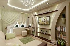3-х ком Говорова Маршала парк Победы, Одеса - дошка оголошень OBYAVA.ua Ceiling Design Living Room, Bedroom False Ceiling Design, Tv Wall Design, Home Room Design, Living Room Colors, Floor Design, Interior Design Living Room, Living Room Designs, Modern Tv Wall Units