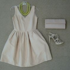 Raoul Primrose dress with chartreuse polka dots, Pelle Moda nude strappy heel, BCBG pale pink geometric clutch, and mixed matte and faceted chartreuse bead necklace.