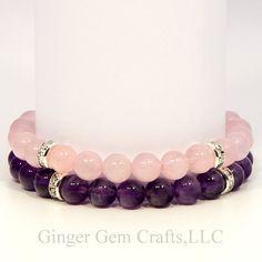 Amethyst bracelet rose quartz bracelet by GingerGemCraftsLLC