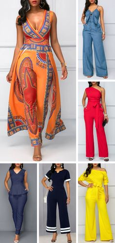 When you are going to take a meet,you need a serious clothes,these jumpsuit perfectly saitisfied it Color desigen make you look sexy and elegant - health-fitness African Attire, African Wear, African Fashion Dresses, African Dress, Sexy Outfits, Summer Outfits, Cute Outfits, Fashion Outfits, Womens Fashion