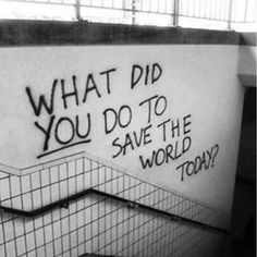What did you do to save the world today? (Step Quotes) The post What did you do to save the world today? (S… What did you do to save the world today? (Step Quotes) The post What did you do to save the world today? (Step Quotes) appeared first on street. The Words, Our Planet, Save The Planet, Steps Quotes, Save Our Earth, Motivational Quotes, Inspirational Quotes, Street Art Graffiti, In This World