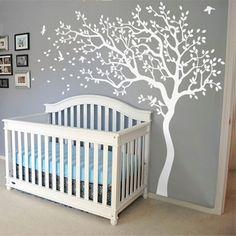 2017 New Huge White Tree Wall Decal Nursery Tree and Birds Wall Art Baby Kids Room Wall Sticker Nature Wall Decor 213X210CM