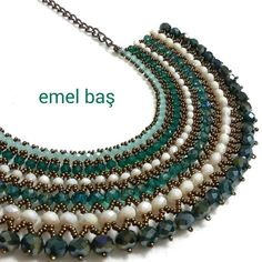 Netted necklace with crystals by Emel Bas from Turkey