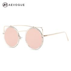 dc5255e10f AEVOGUE Sunglasses Women Round Copper Frame Newest Summer Style Single-Beam  Brand Designer Sun Glasses UV400 With Box AE0459 for just  20.34