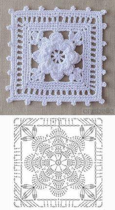 Crochet Doily Diagram, Crochet Motif Patterns, Crochet Chart, Thread Crochet, Crochet Doilies, Motifs Granny Square, Granny Square Crochet Pattern, Crochet Squares, Granny Squares