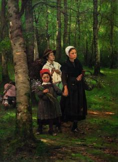 Children in Beech Forest, 1891, Václav Brožík. (1851 - 1901)
