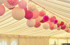Custom Mixed White Pink Hot Pink Paper Lanterns & Pom Poms Wedding Party Baby Girl Room Nursery Decoration on Etsy, $45.00