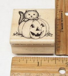 KITTY CAT WITH A JACK O LANTERN HALLOWEEN VINTAGE BY HERO ARTS 1985 RUBBER STAMP #HEROARTS #rubberstamp