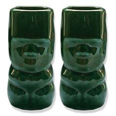 Comes with Green Tiki Shot Glasses 2 Oz and Brown Orange