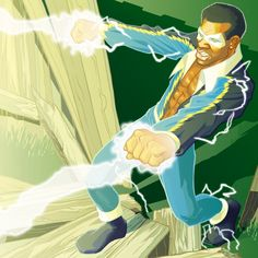 Original Comic Art titled Black Lightning, located in Tom's Upper Deck Vs. Black Lightning Static Shock, African American Heroes, Black Comics, The Dark Crystal, Dc Comics Art, Dc Characters, Comic Book Heroes, Hero Arts, Comic Art