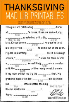Thanksgiving Mad Libs for kids! Crafts Thanksgiving Mad Libs Printable - My Sister's Suitcase - Packed with Creativity Thanksgiving Family Games, Thanksgiving Crafts For Kids, Thanksgiving Traditions, Thanksgiving Parties, Thanksgiving Decorations, Thanksgiving Table, Free Thanksgiving Printables, Hosting Thanksgiving, Thanksgiving Facts