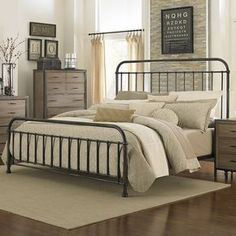 Shady Grove Iron Bed in Antiqued Natural by Magnussen Home   Humble Abode