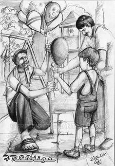 Güzel sanatlara hazırlık imgesel 3 figür baloncu balon alan çocuk baba.