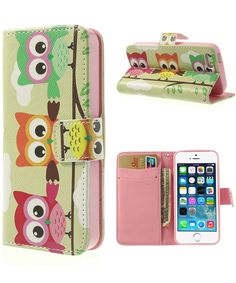 iPhone 5 / 5S Wallet Stand Case Uil Patroon