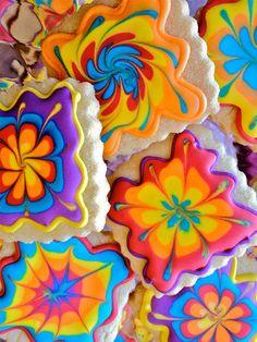 Groovy tie-dye cookies-60's cookies-VW van by marionsvintagebakery